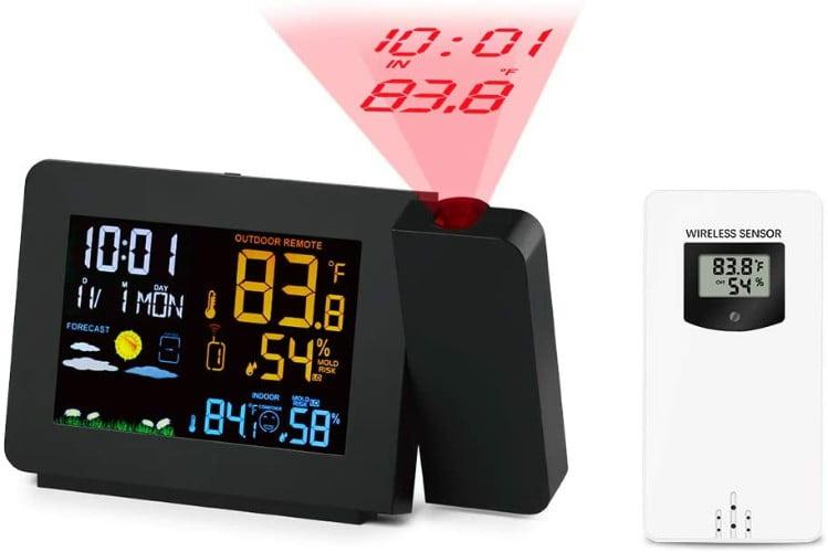 Protmex-PT3391-Reloj-meteorologico-de-proyeccion-DCF-Reloj-con-Control-de-Radio-Termometro-para-Interiores