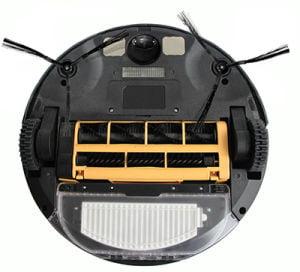 vista inferior de los cepillos de un robot aspiradora