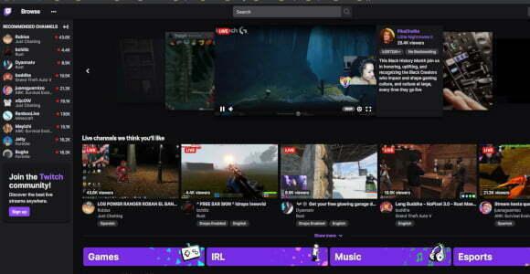 Web oficial de Twitch