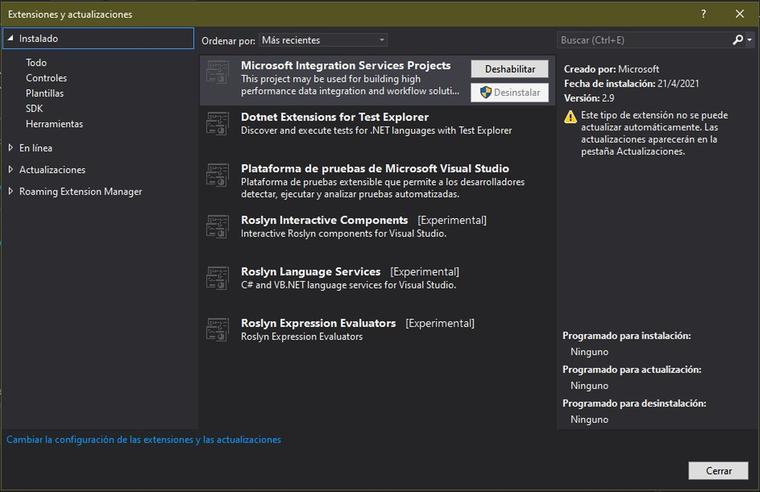Instalador de extensiones y actualizaciones en Visual Studio 2017