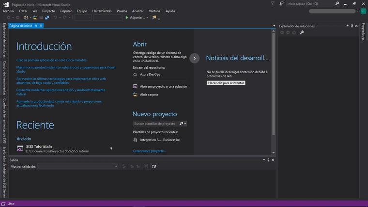 Interfaz de inicio de Visual Studio 2017.