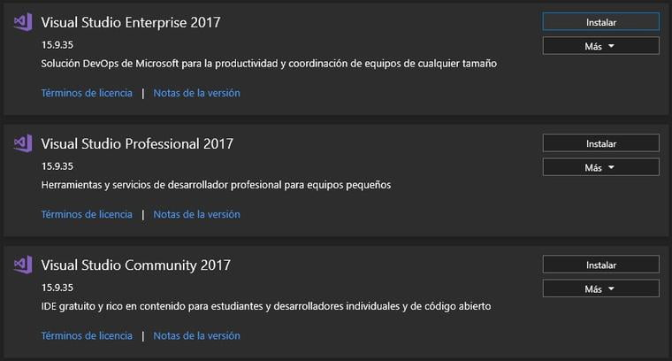 Versiones disponibles de Visual Studio